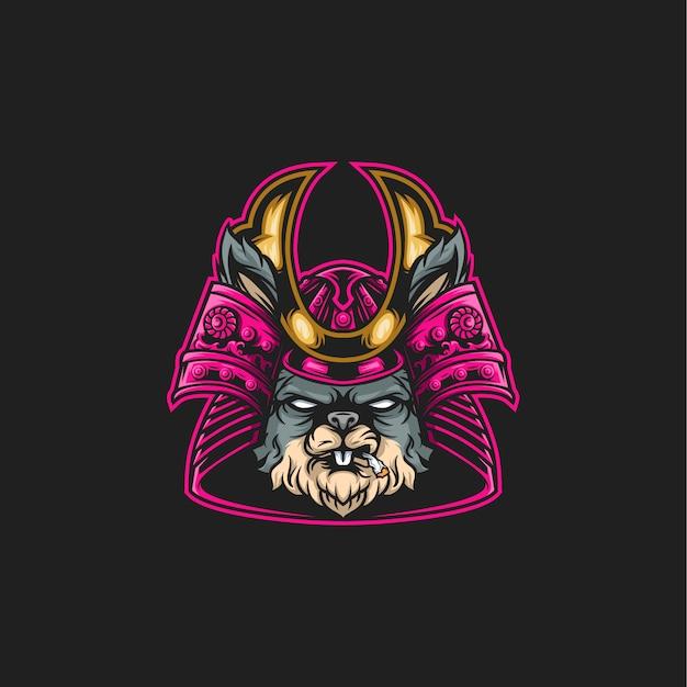 Illustrazione di coniglio samurai Vettore Premium