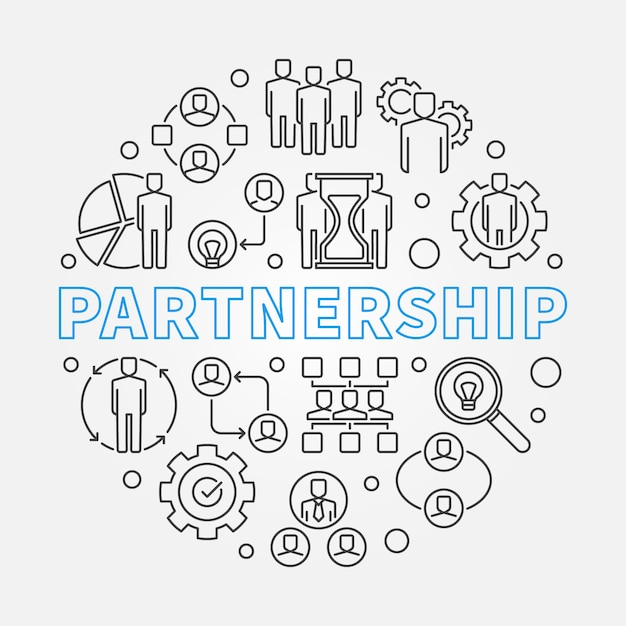 Illustrazione di contorno concetto di partenariato Vettore Premium