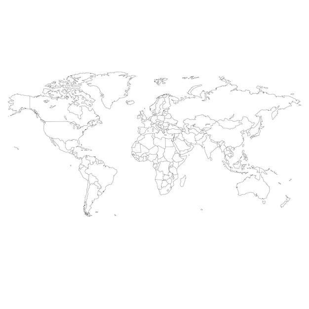 Illustrazione di contorno della mappa del mondo. Vettore Premium