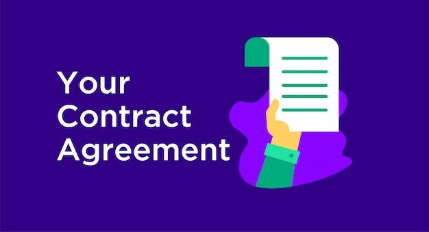 Illustrazione di contratto Vettore Premium