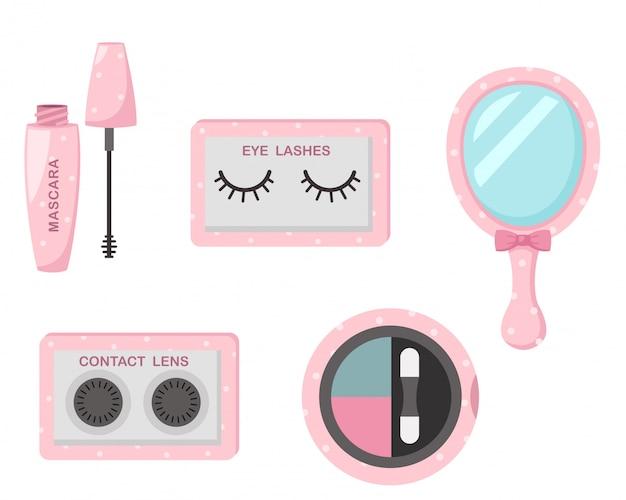 Illustrazione di cosmetici set isolati Vettore Premium