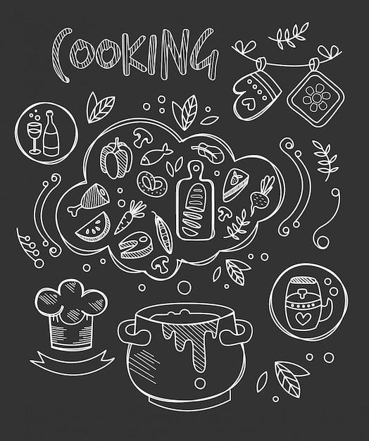 Illustrazione di cottura, disegno di lavagna Vettore Premium