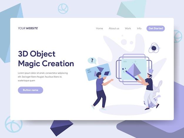 Illustrazione di creazione di oggetti di stampa 3d per pagine web Vettore Premium