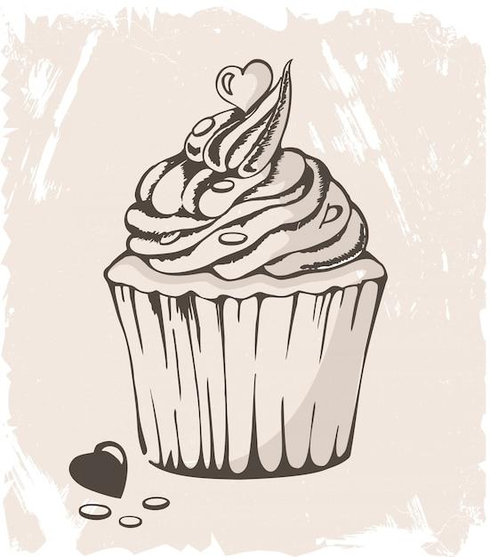 Illustrazione di cupcake con cuore su pastello Vettore Premium