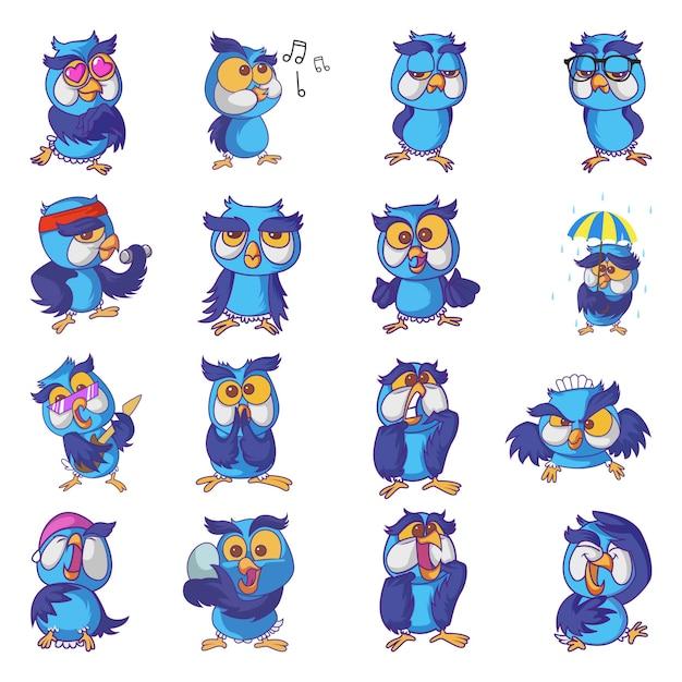 Illustrazione di cute owl set Vettore Premium