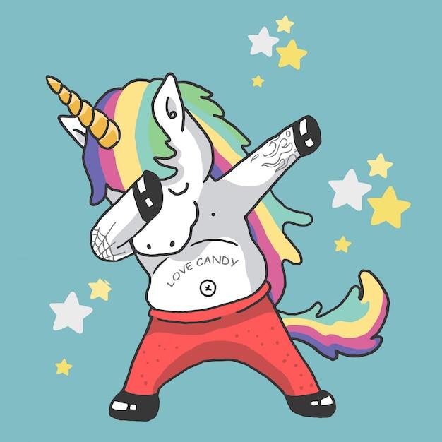 Illustrazione di danza unicorno carino Vettore Premium