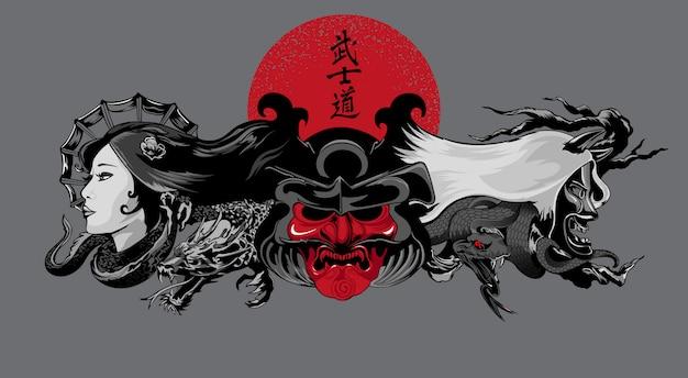 Illustrazione di demoni in stile giapponese Vettore Premium