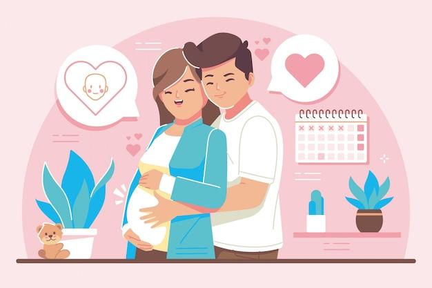 Illustrazione di design piatto concetto di gravidanza Vettore Premium