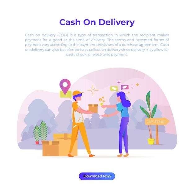 Illustrazione di design piatto di pagamento alla consegna quando si acquista qualcosa al negozio online o al negozio o all'e-commerce Vettore Premium