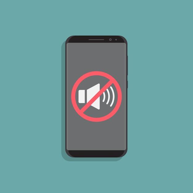 Illustrazione di design piatto smartphone modalità silenziosa Vettore Premium