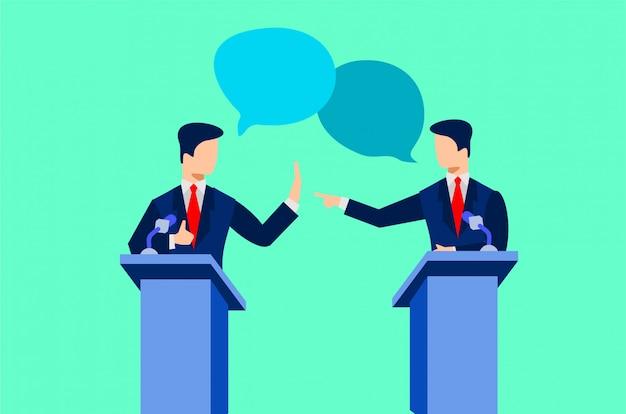 Illustrazione di dibattiti politici Vettore Premium