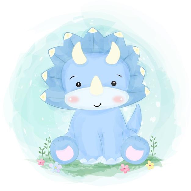 Illustrazione di dinosauro blu carino Vettore Premium