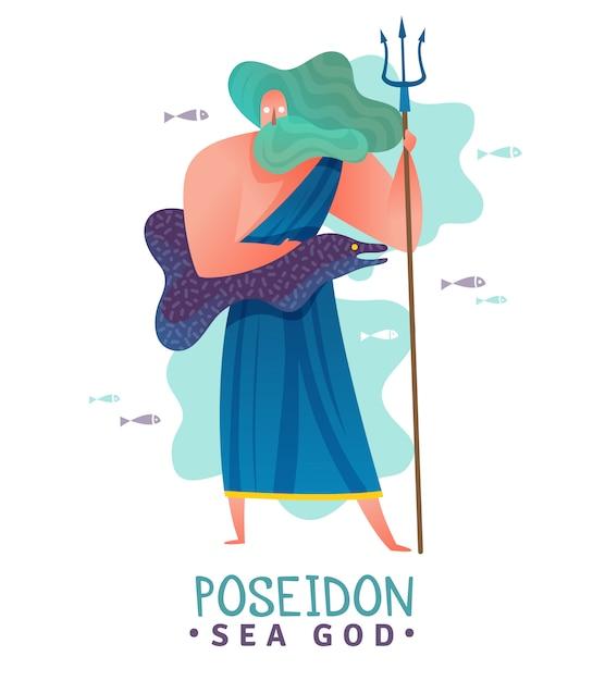 Illustrazione di dio poseidon del greco antico Vettore gratuito