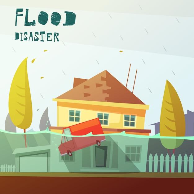 Illustrazione di disastro alluvione Vettore gratuito