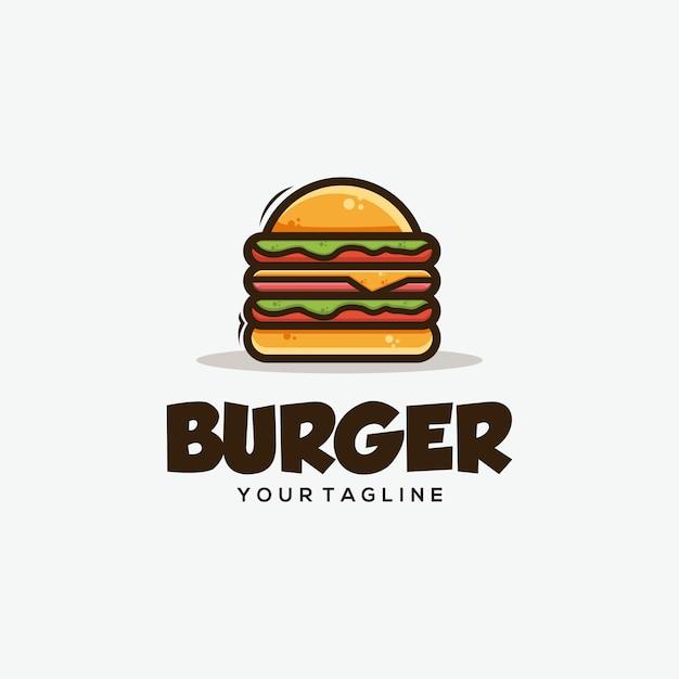 Illustrazione di disegni di concetto di hamburger Vettore Premium
