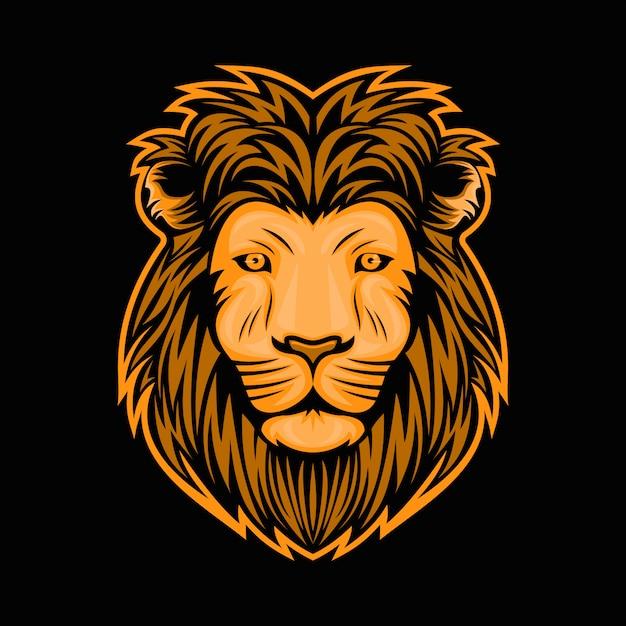 Illustrazione di disegno di vettore della testa del leone Vettore Premium