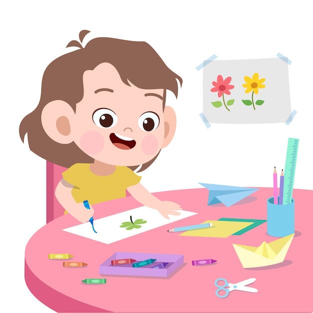 Illustrazione di disegno vettoriale bambino isolato Vettore Premium