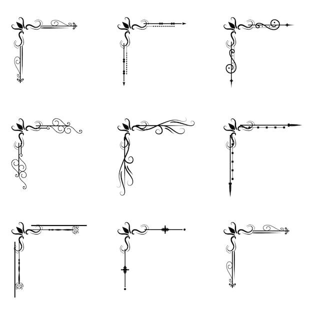 Illustrazione di divisione d'annata del confine di forme degli elementi di progettazione dell'ornamento di tipografia del libro del divisore del decoratice del separatore del testo Vettore Premium