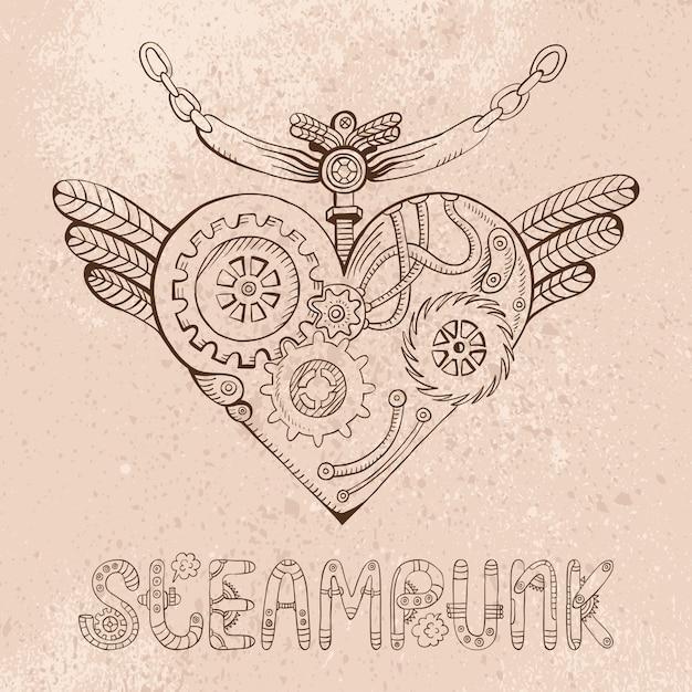 Illustrazione di doodle del cuore di steampunk Vettore Premium