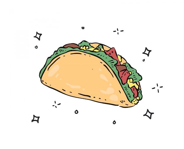 Illustrazione di doodle di tacos Vettore Premium
