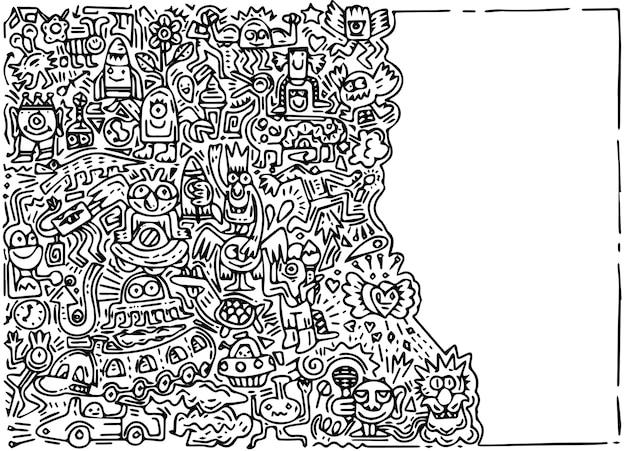 Illustrazione di doodle mostro carino con sfondo spazio copia, disegno a mano doodle Vettore Premium