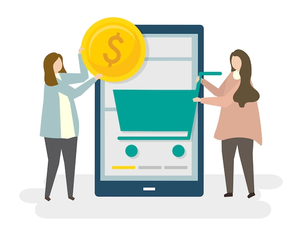 Illustrazione di e-commerce dello shopping online Vettore gratuito