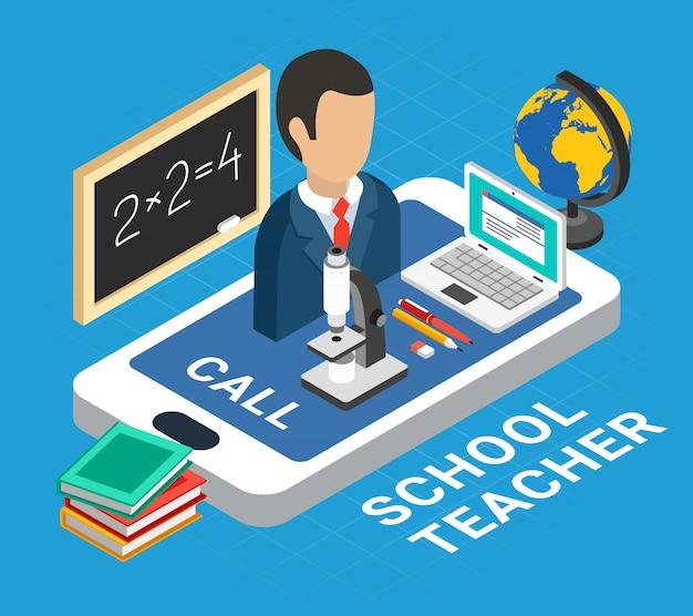 Illustrazione di educazione isometrica con maestro di scuola e dispositivi Vettore gratuito