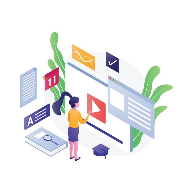 Illustrazione di educazione isometrica piatta Vettore Premium