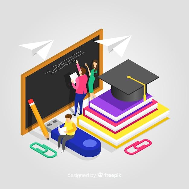 Illustrazione di educazione isometrica Vettore gratuito