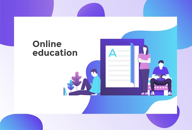Illustrazione di educazione online Vettore Premium