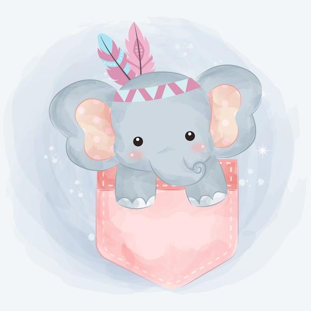 Illustrazione di elefante tribale carino Vettore Premium
