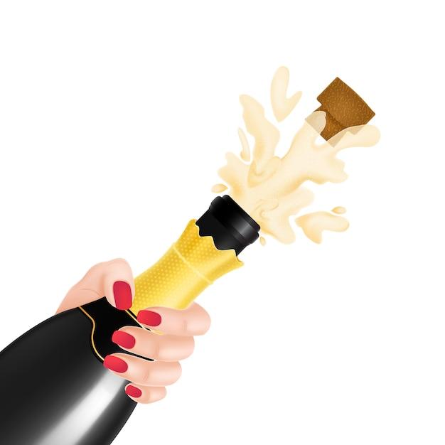 Illustrazione di esplosione di bottiglia di champagne Vettore gratuito