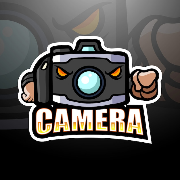 Illustrazione di esportazione mascotte fotocamera Vettore Premium