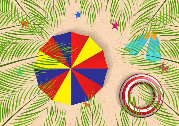 Illustrazione di estate con la vista superiore delle foglie di palma da cocco Vettore Premium