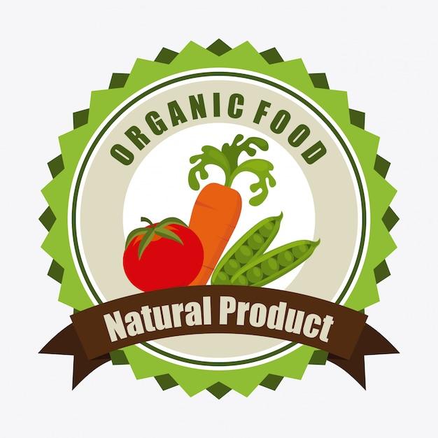 Illustrazione di etichetta di alimenti biologici Vettore gratuito