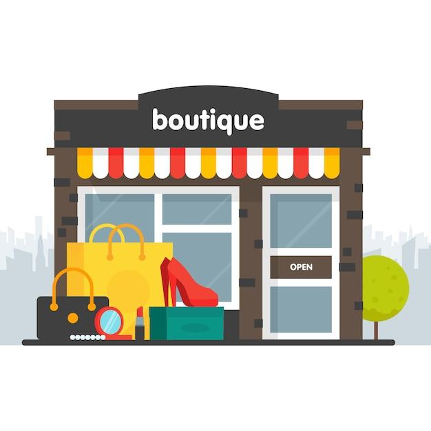 Illustrazione di facciata boutique Vettore Premium