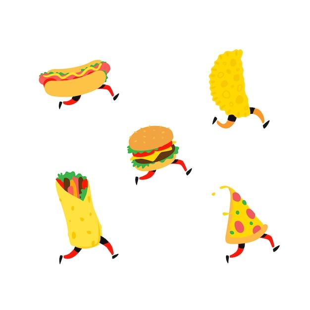 Illustrazione di fast food Vettore Premium