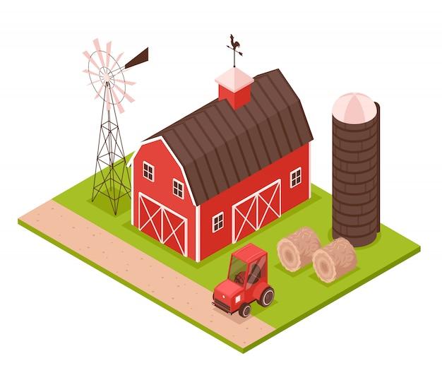 Illustrazione di fattoria isometrica Vettore gratuito