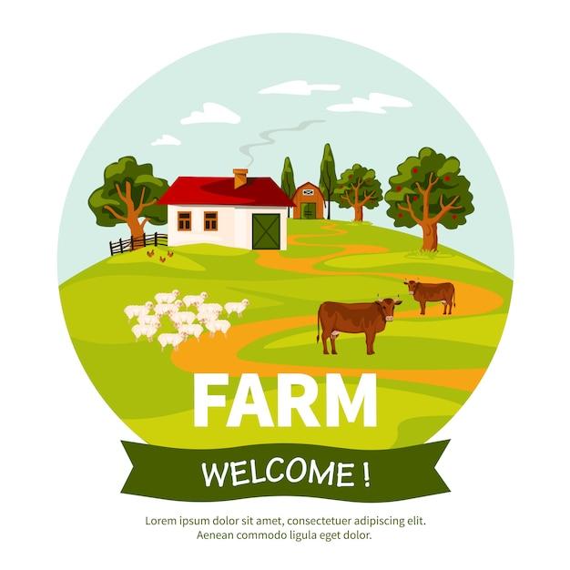 Illustrazione di fattoria Vettore gratuito