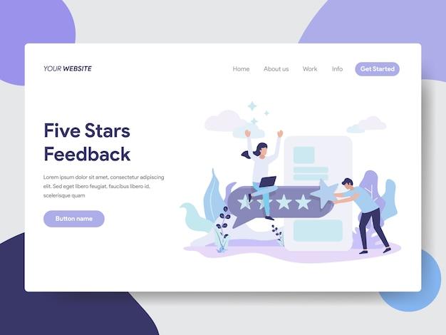 Illustrazione di feedback di cinque stelle per le pagine web Vettore Premium