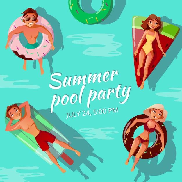 Illustrazione di festa in piscina estiva Vettore gratuito