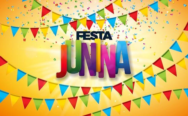 Illustrazione di festa junina con bandiere di partito e coriandoli colorati Vettore Premium