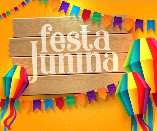 Illustrazione di festa junina con bandiere di partito e lanterna di carta Vettore Premium