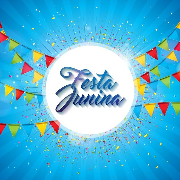 Illustrazione di festa junina con le bandiere del partito e lanterna di carta su fondo blu. Vettore Premium