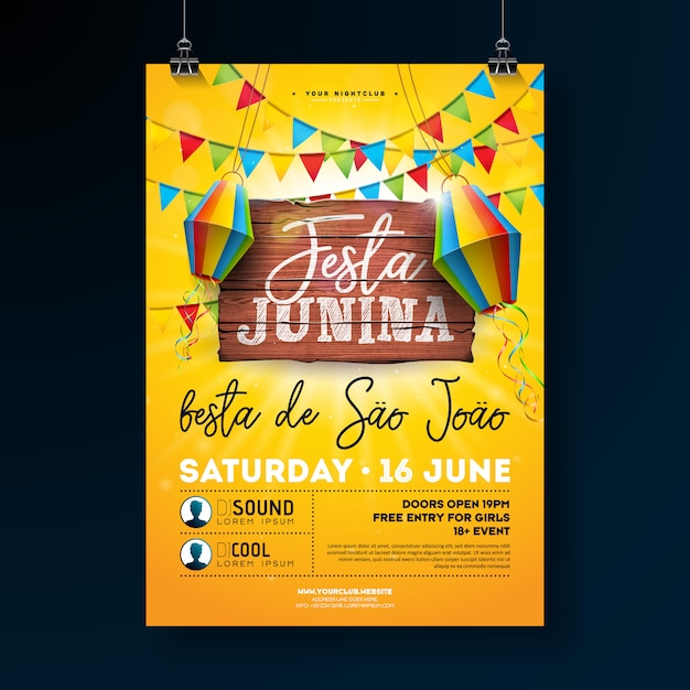 Illustrazione di festa junina party flyer Vettore Premium