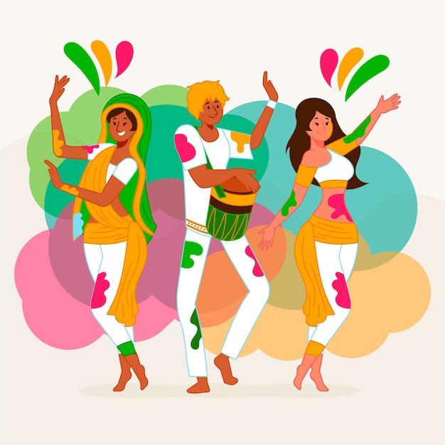Illustrazione di festival di holi di celebrazione della gente Vettore gratuito