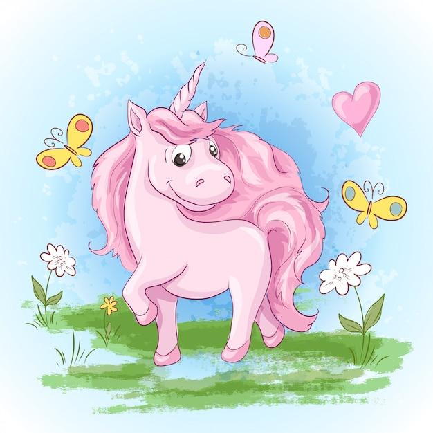 Illustrazione di fiori e farfalle unicorno carino Vettore Premium