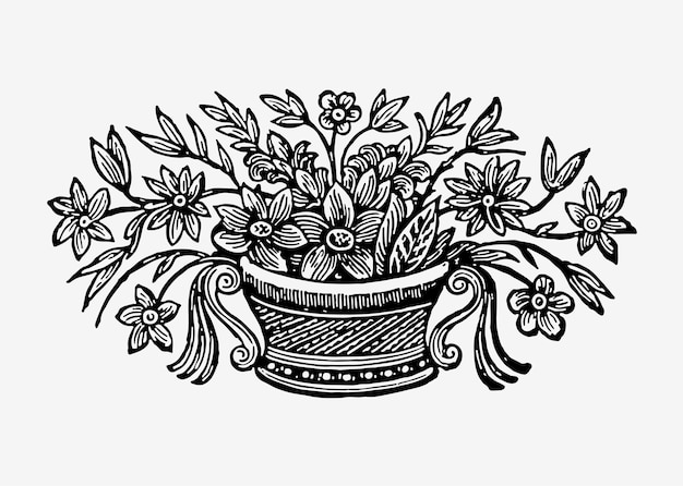 Illustrazione di fiori in vaso d'epoca Vettore gratuito