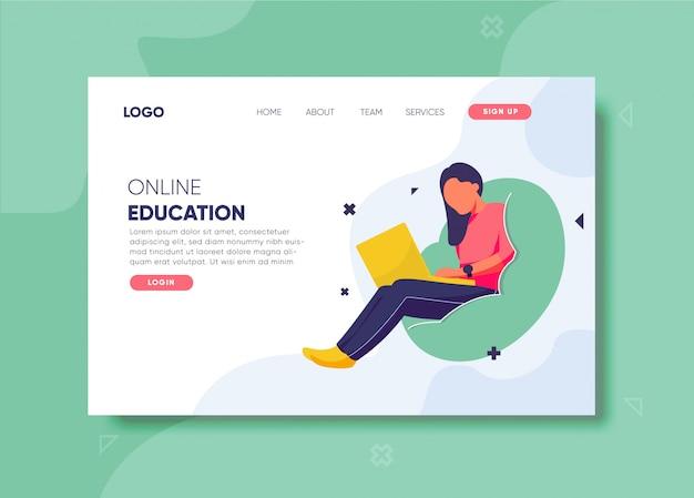 Illustrazione di formazione online per modello di pagina di destinazione Vettore Premium