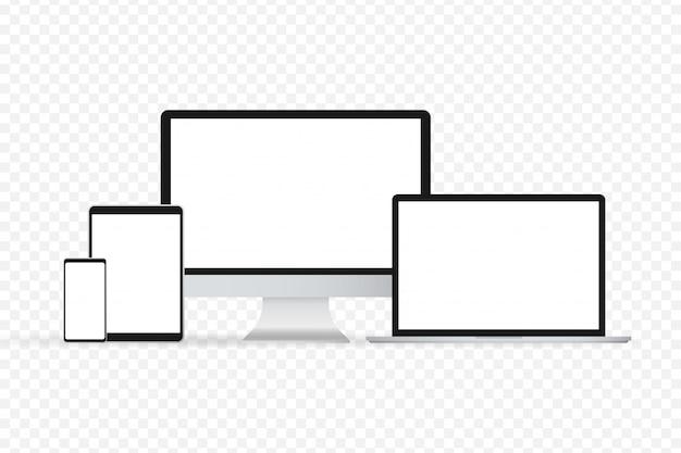 Illustrazione di gadget isolato portatile smartphone moderno del computer portatile del computer su un fondo bianco Vettore Premium
